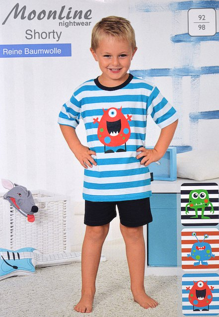infants pyjama short sleeved with funny intens ringlets and minimonsters