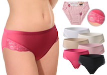 uni coloured ladies briefs with lace insert on the legs