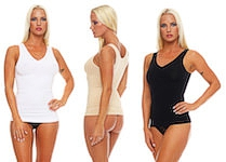 Ladie`s undershirt shapewear seamless plain black skin and white