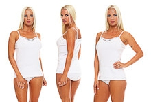 Ladies undershirt with spaghetti straps plain white pure cotton