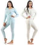Plain ladies`s underpants long sleeved; thermo blue, grey and creme