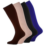 compression knee socks against thrombosis plain skin black blue or brown
