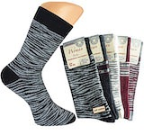 great dark ladie`s socks with fancy waves; Soft Cotton; Piquet edge without elastic