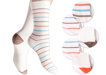 ivory coloured ladies socks, plain with contrastic heels and toes and socks with nice ringlets mixed