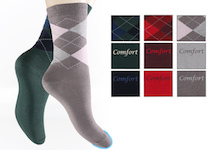 fashionable ladie`s socks in a 3-pairs-pack; 1 pair with classic rhombus and 2 unicolour socks mixed with comfort-lettering