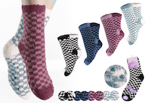 Ladie`s soft-socks with chess-pattern