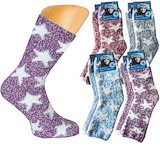 Ladie`s soft-socks cuddly, warm softsocks with a great star motif in a 2-pairs-pack