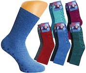 uni-coloured Ladie`s soft socks in colours of the year; ABS-knobs on the sole