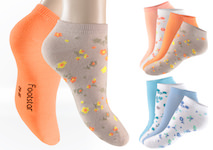 bright, coloured Ladie`s Sneakers-socks with funny, small flowers