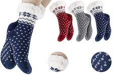cozy house socks with wintery, classic snow crystal pattern; fluffy inside and ABS pimples on the sole