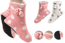 cuddly house socks with funny dots and bobbles; fluffy inside and ABS pimples on the sole