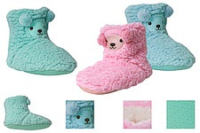 cuddly house socks with funny face and bobble-ears; fluffy inside and ABS pimples on the sole