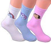 pastel coloured socks with 3 differend kinds of unicorns